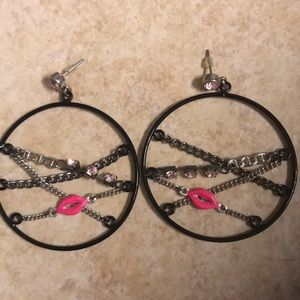 Betsey Johnson earrings with pink lips